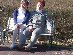 Japanese Nurse Makes a Guy in Wheelchair Stand Up to Fuck Her in Public