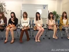 Bored Japanese Girls in Waiting Room Masturbate with Panties On