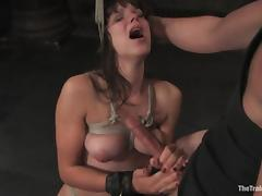 Bobbi Starr gets her mouth and sweet pussy fucked hard in BDSM clip porn video