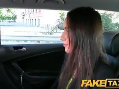 FakeTaxi: Hawt Budapest gal in airport taxi oral-job