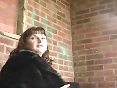 English milf persuaded to flash outdoors porn video