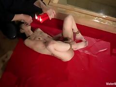 Skinny Asian girl gets waxed after being bondaged in the water