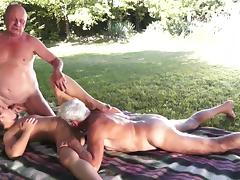 Old and Young, Blowjob, Facial, MMF, Outdoor, Penis