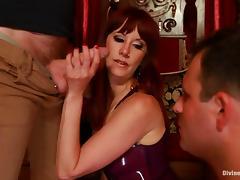 Hot BDSM femdom with a slender redhead mistress