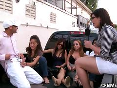 Reality video with sexy chick giving a handjob in the street