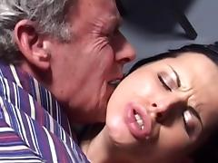 Old and Young, Blowjob, Brunette, Facial, Old and Young, Shaved Pussy