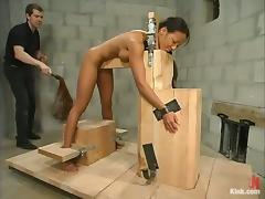 Bondaged ebony gets drilled by a fucking machine!