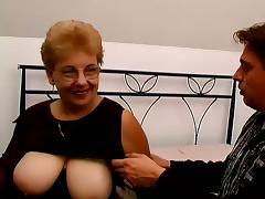 Blonde granny Kat blows and takes a great ride on a cock