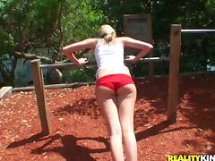 Lewd blonde Terra gives head and gets fucked in the garden