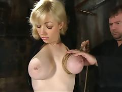 Hot Toying Action for Blonde Adrianna Nicole in Bondage Video