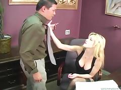 Slutty Tiffany Tanner fucks their way servants in a catch office