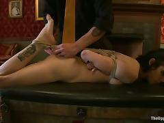 Slim Asphyxia Noir gets tied up added to toyed with a vibrator