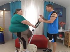 Fatzilla an obstacle big dame gets fucked hard by her fitness bus