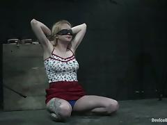Blindfolded honcho infant is coarse abused by the brush lesbian adroit