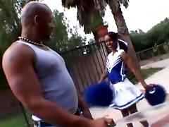Staggering ebony cheerleader moans with her insidious man