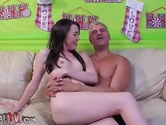 Ashley Shannon toys myself with reference to a vibrator and fucks a guy