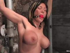 Brunette milf gets torturous and fucked by two lewd mistresses