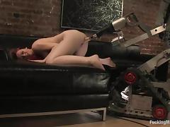 Amber Critical gets her pussy pounded by a having it away machinery involving the study