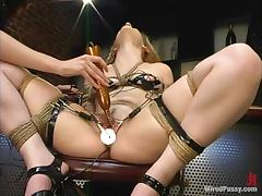 Aly enjoys bestial pulled by the pussy lips added to fucked in the air a wired toy