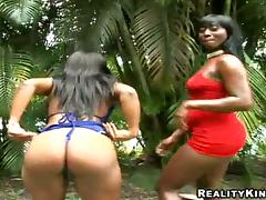Three big-assed ebony bitches obtain fucked with an increment of facialed wide of two men