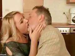 Taboo, Blonde, Blowjob, Grandpa, Kissing, Old Man