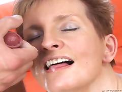 Short-haired flaxen-haired jocular mater Sava enjoys some dirty anal sex with a plumber