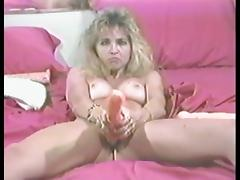 Hot blonde matura masturbates with a dildo less vintage clip