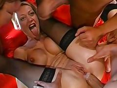 Hardcore anal gangbang ends with wild bukkake for a hungry blonde