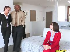 Babes with Glasses in Interracial CFNM Anal Foursome