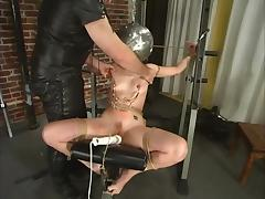 Bound Carly gets gagged and then toyed in BDSM video