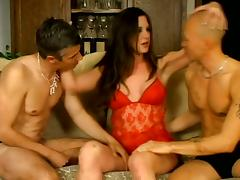 Bisexual Scene With Horny Slut And Two Wild Fuckers
