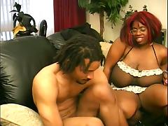 Mature ebony fattie blows and gets fucked in all positions