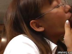 Asian Girl With Glasses And Big Tits Sucks Hard Cock