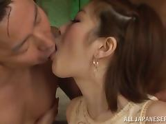 Hot Japanese bitch Ai Haneda gets satisfied by two horny men