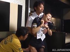 Stewardess, Asian, Japanese, MMF, Stewardess, Threesome