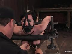 Bounded and gagged Cherry Torn gets toyed from behind