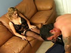 Perfect Blowjob And Foot Job From Pretty Blonde Babe In Stockings