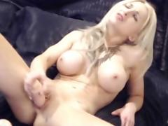 blonde with big tits and pale skin masturbates on cam
