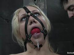 Samantha Sin gets her tits covered with wax and loves a toy in her cunt