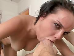 Deepthroat, Blowjob, Brunette, Deepthroat, Facial, Masturbation