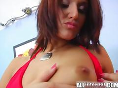 A cute redhead with a nice ass gets drilled deep and even double penetrated.