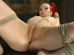 Dirty redhead Sabrina Sparx is under abuse