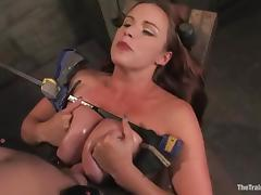 Busty brunette Bella Rossi enjoys being tortured by Maestro in BDSM scene