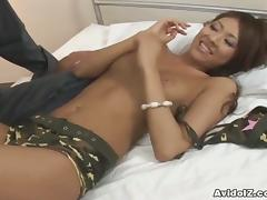 Cute Asian Brunette Gets Her Hairy Cunt Pounded Hard