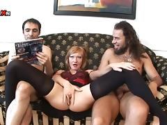 DP Threesome with Redhead MILF May Turn into a Double Anal Fuck