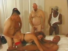 Bunch of dudes will fuck that shemale in a gangbang