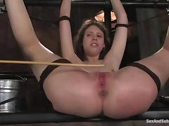 Kristine gets her mouth and ass pounded by Steve Holmes in BDSM vid