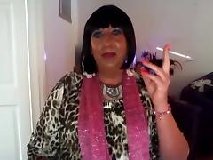 Chrissie smokes again on webcam