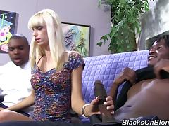 Sexy Skinny Blonde Has Been Fooled By Black Dudes Who Bang Her Cunt