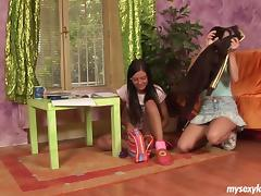Brunette teen lesbians Monika and Rosa toy cunts